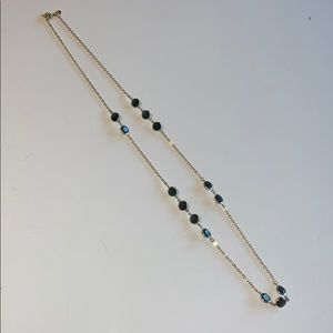 J. Crew Long Gold Necklace with Smoky Blue Gems